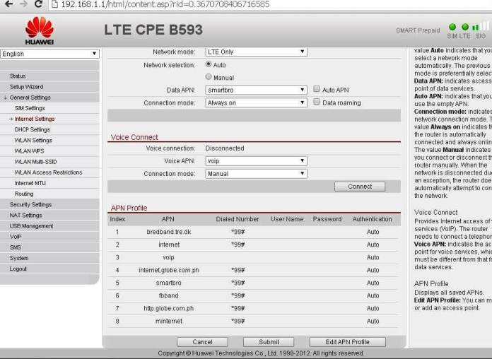LTE CPE B593 APN setting