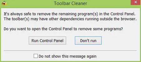 Toolbar Cleaner - Run Control Panel