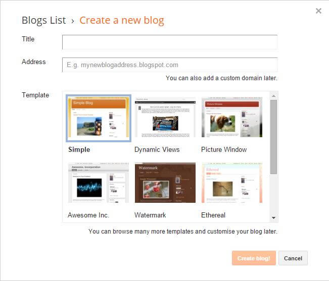 Create a New Blog