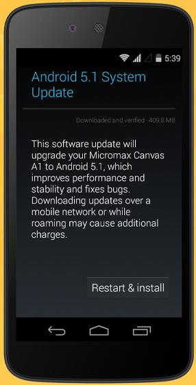 Micromax Canvas A1 - Restart and Install