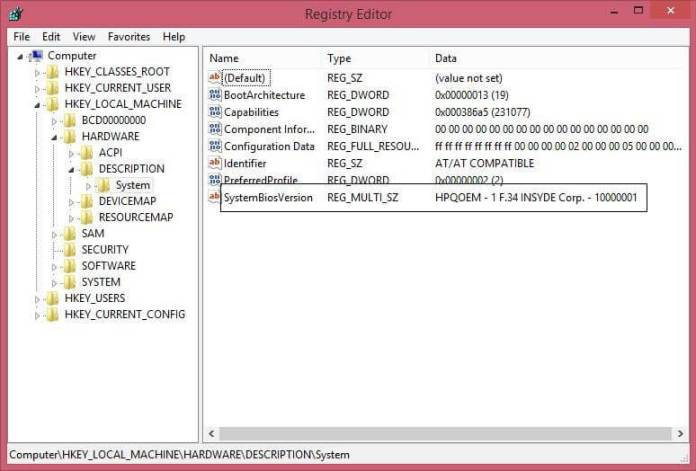 Registry Editor - BIOS Version