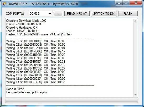 Huawei R215 - E5372 Flasher by fr3nsis
