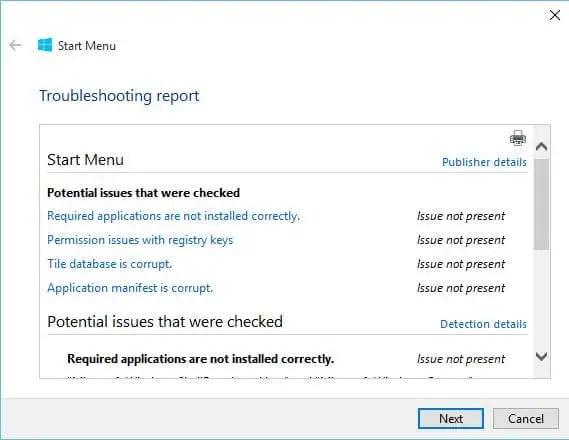 Download Start Menu Repair / Troubleshooter Tool for Windows 10