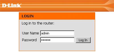 Indtast login og adgangskode fra webgrænsefladen