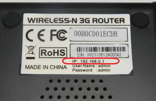 IP adresa směrovače v dolní části zařízení