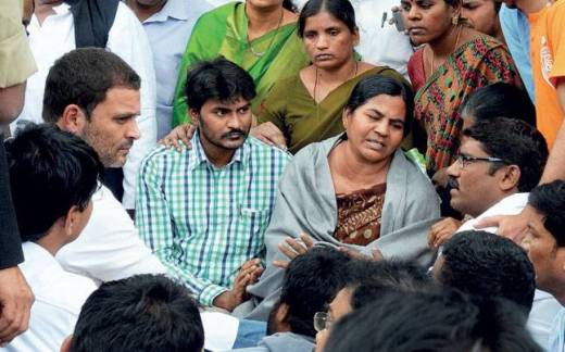 Dalit scholar Rohith Vemula's mother and brother during a protest meeting held in Hyderabad.
