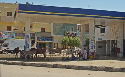 Old petrol station - used as a shelter and donkey parking