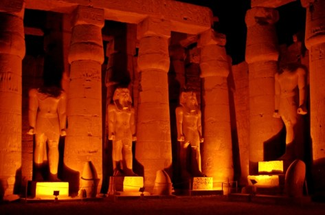 Pharaonic statues in Luxor Temple