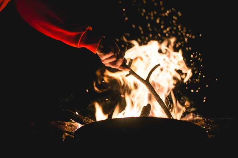 campfire at forest
