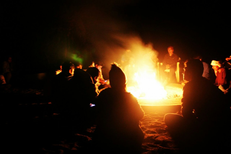 campfire in night