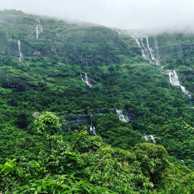 The series of waterfalla at kalsubai peak Maharashtra Photo byhellip