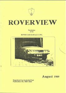 Roverview August 1989 cover