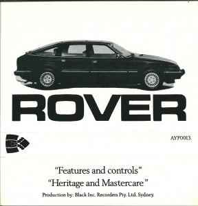 DSC_0023 1985 Rover VDP & 3500SE Australian Audio Cassette Cover