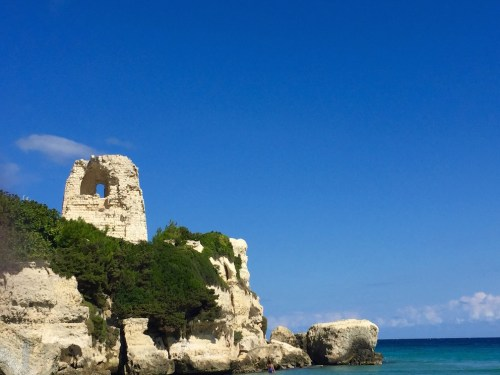 The crumbling Torre or tower at Torre dell'orso beachon the east coast of salento