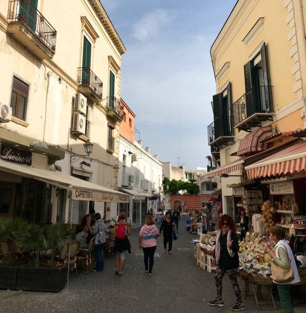 Forio street with shoppers and store fronts
