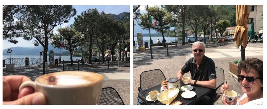 Drinking coffee during a half day in menaggio
