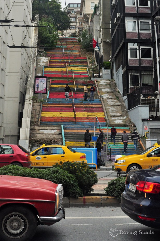 Gezi Park protesters painted the city stairs in colours
