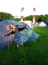 Me almost falling on a neighbouring tent. In a cool way, of course.