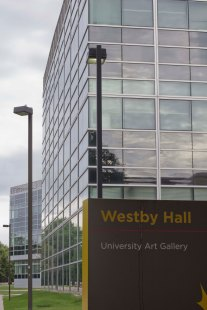 Science Hall with the Westby Hall sign