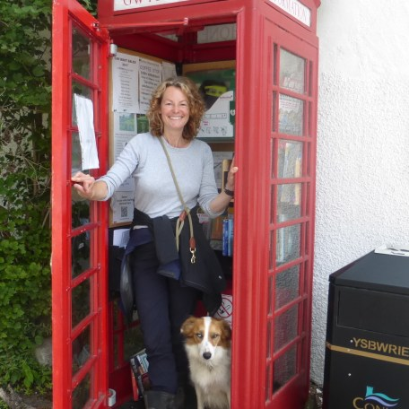 Kate Humble in Rowen's phone box information point, August 2017