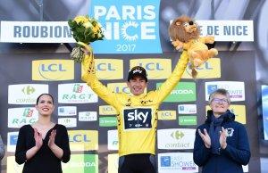 Sergio Henao w żółtej koszulce lidera Paryż-Nicea