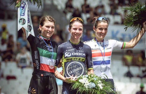 Annemiek Van Vleuten, Elizabeth Deignan i ELisa Longo Borghini na podium La Course