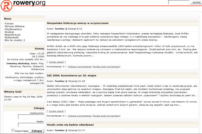 Rowery.org w 2006 roku
