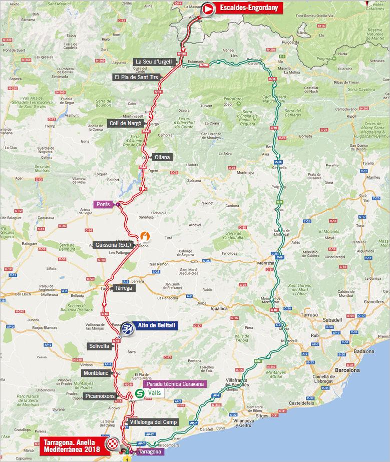 mapa 4. etapu Vuelta a Espana 2017