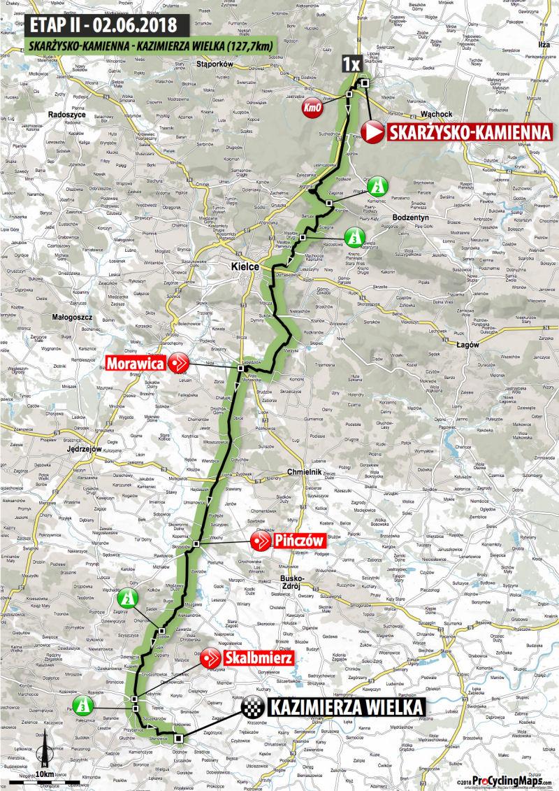 trasa 2. etapu Wyścigu Szlakiem Walk Majora Hubala 2018
