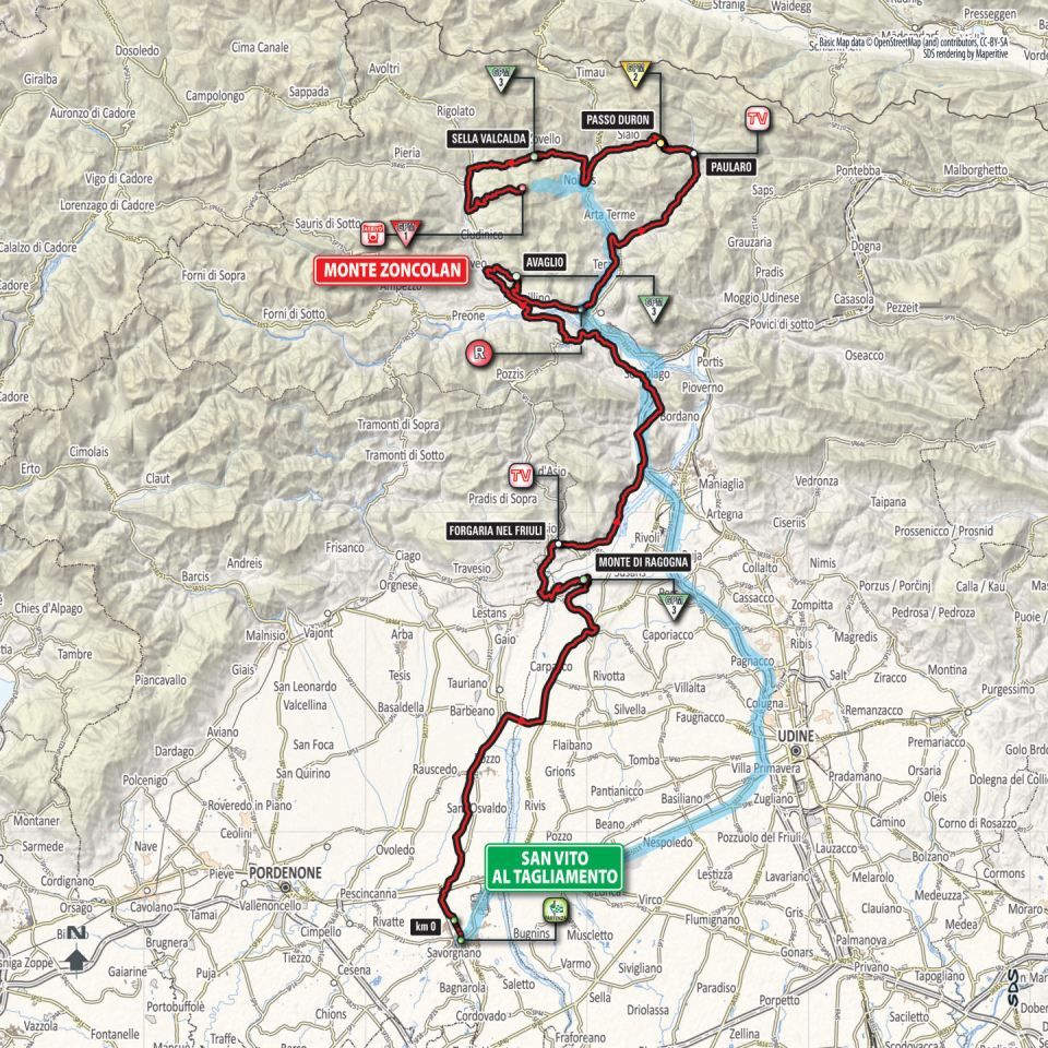 trasa 14. etapu Giro d'Italia 2018