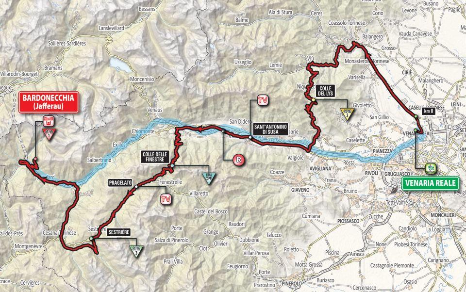 mapka 19. etapu Giro d'Italia 2018