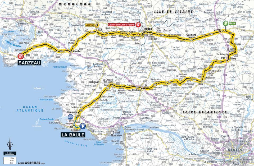 trasa 4. etapu Tour de France 2018