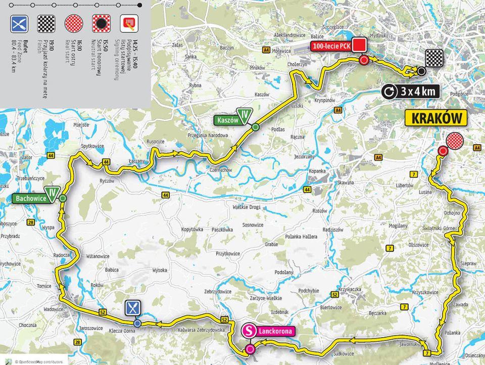 mapa 1. etapu Tour de Pologne 2018