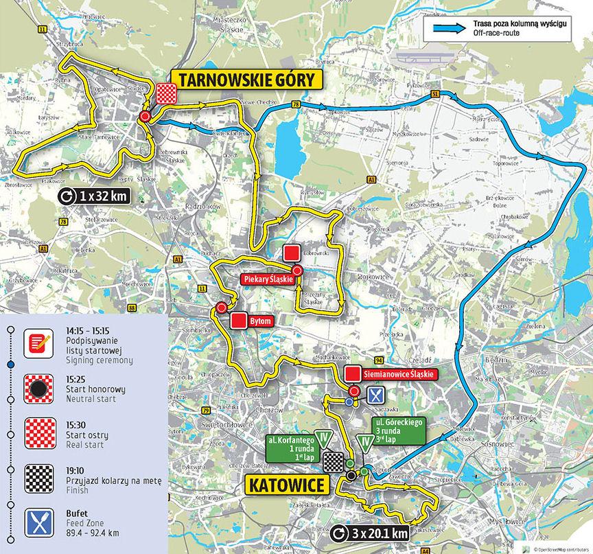 mapa 2. etapu Tour de Pologne 2018
