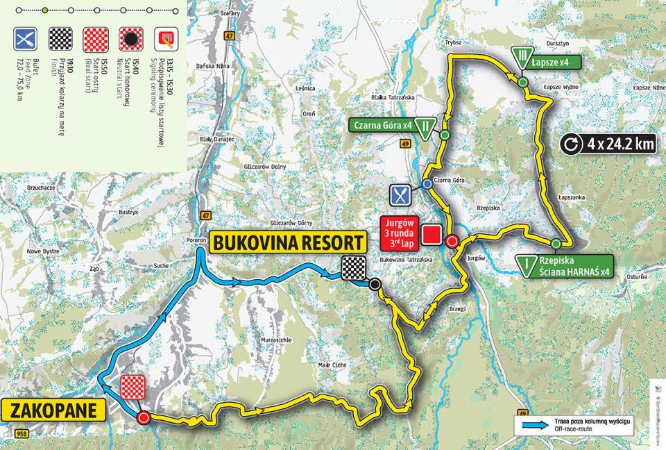 mapa 6. etapu Tour de Pologne 2018