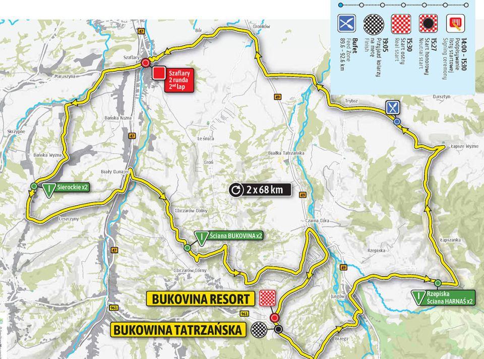 mapa 7. etapu Tour de Pologne 2018