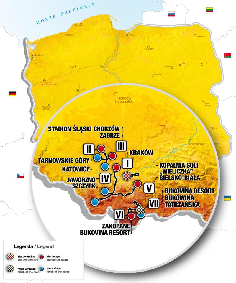 Mapa Tour de Pologne 2018
