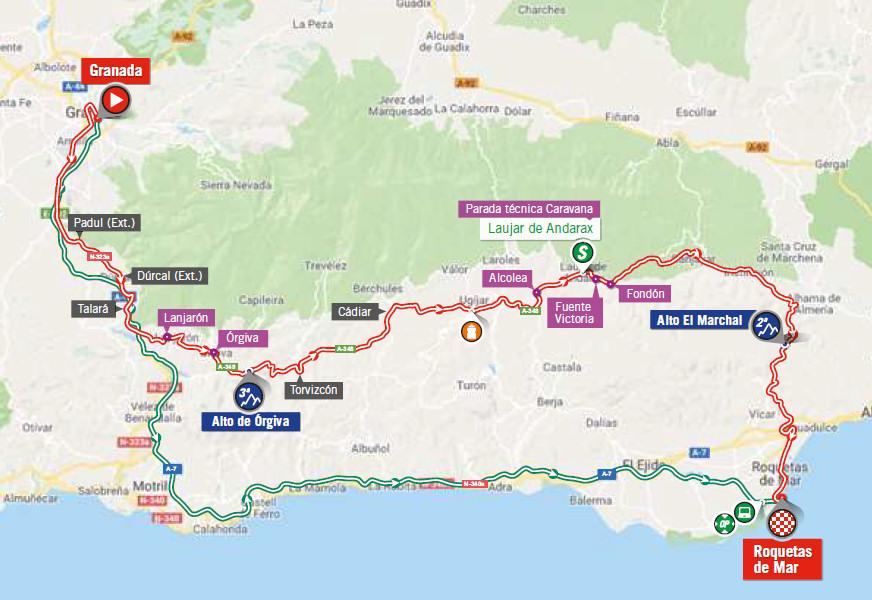 mapka 5. etapu Vuelta a Espana 2018