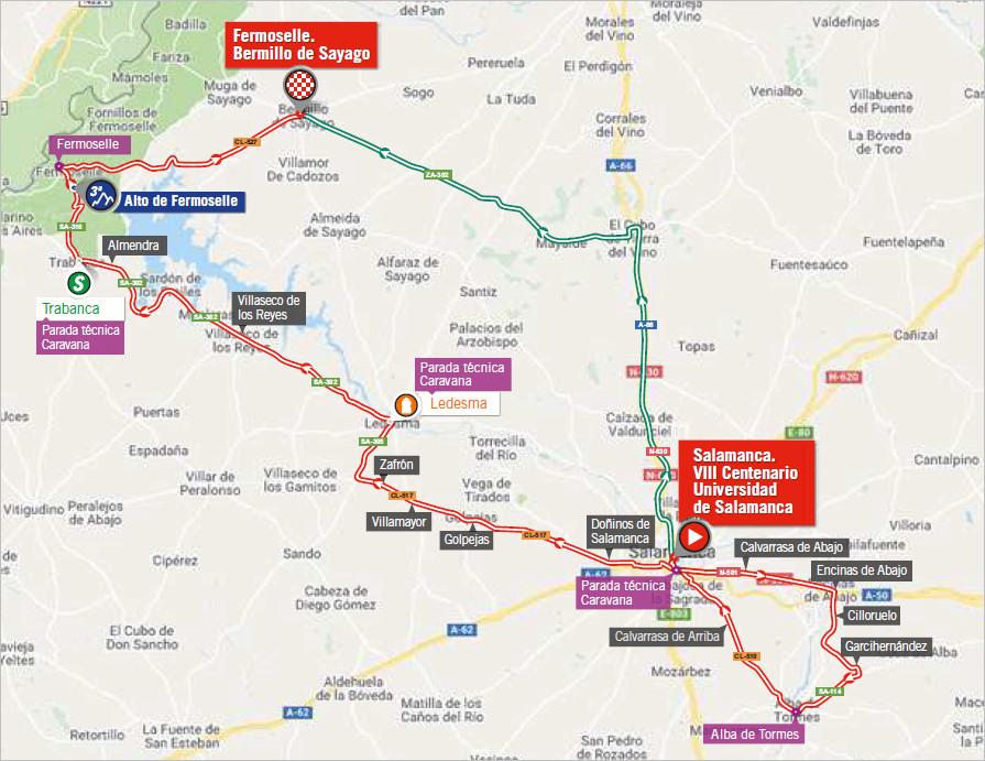 mapka 10. etapu Vuelta a Espana 2018