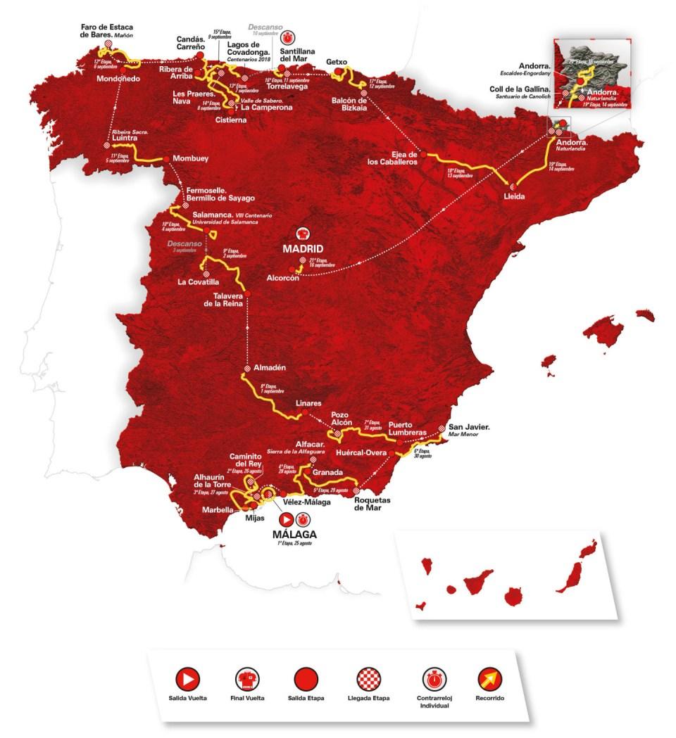 mapka trasy Vuelta a Espana 2018