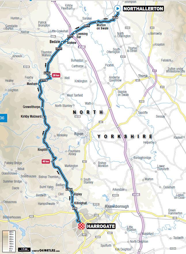 mapa wyścigu indywidualnego na czas mistrzostw świata Yorkshire 2019