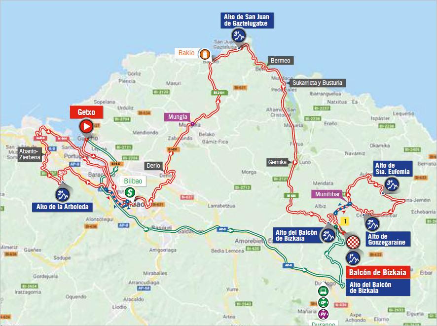 mapka 17. etapu Vuelta a Espana 2018