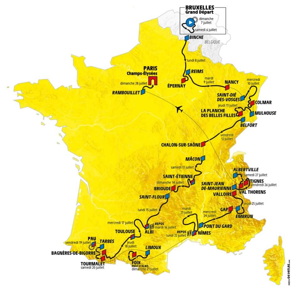 mapka Tour de France 2019