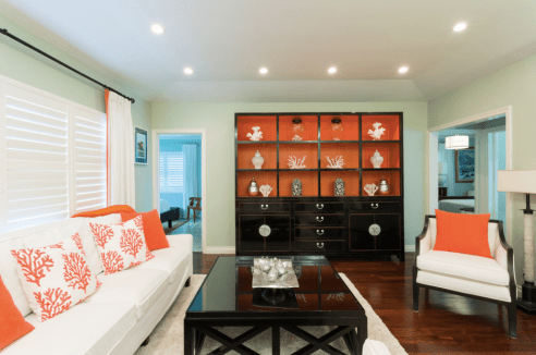 Bright Orange Inside Mint Living Room