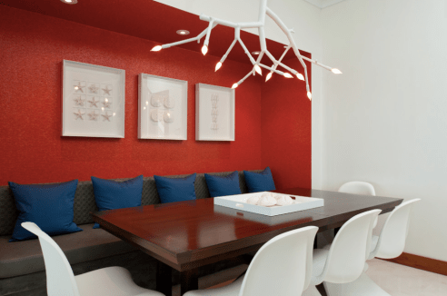 Modern Red Wall In White Dining Room