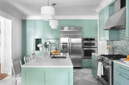 Grey And White Diamonds With Mint Cabinets