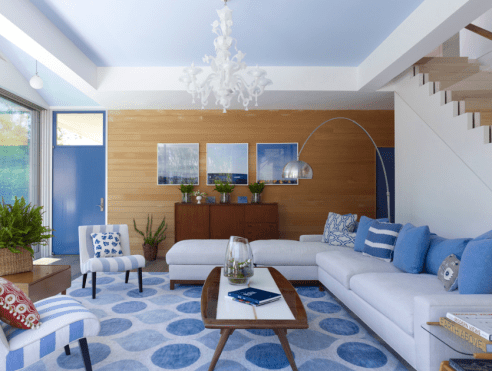 Modern Blue And White Living Room