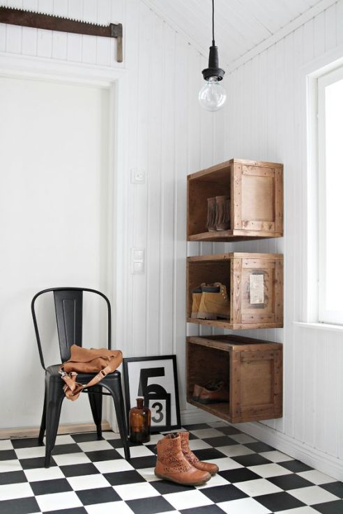 Store bough or home made, wooden crates are a great way to keep shoes organized and add rustic farmhouse charm.