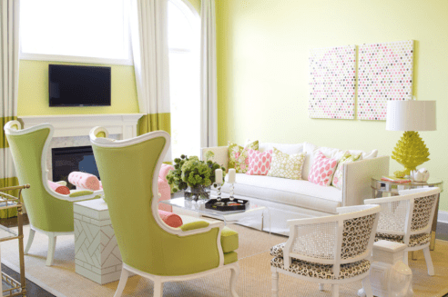 Feeling brave? If you're not afraid of colour try this bold wall shade paired with soft pink accents.