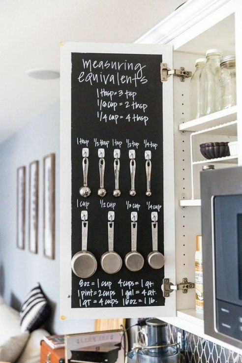 Paint a chalkboard inside a kitchen cabinet then hang measuring spoons and cups for easy access.